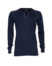 Långärmad herr-T-shirt i ekologisk bomull/elastan navy