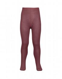 barnstrumpor - ekologisk merinoull ribbstickade rouge