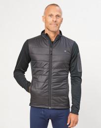 Hybridjacka med blixtlås för herr - återvunnen polyester/merinoull svart