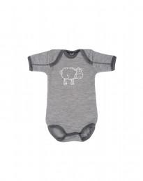 Merinoullbody för babyn gråmelange