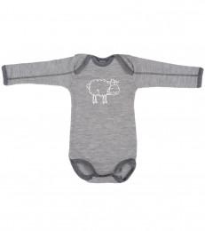 Långärmad body i merinoull för babyn gråmelange