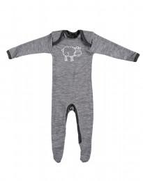 Babysparkdräkt i merino gråmelange