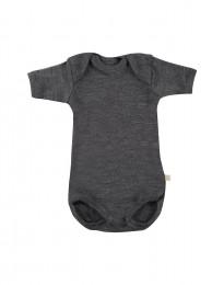 Babybody med kort ärm - ekologisk merinoull mörk gråmelange
