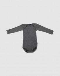 Babybody med lång ärm - ekologisk merinoull mörk gråmelange