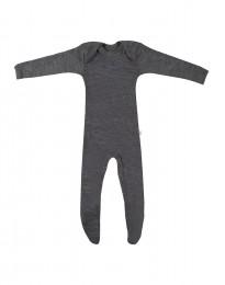 Sparkdräkt m fötter för baby i merinoull mörk gråmelange