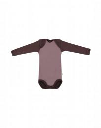 Body med långa ärmar - ekologisk merinoull mörkrosa