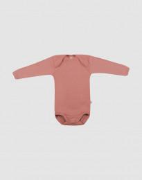 Ullbody med lång ärm för baby rosa