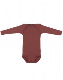 Body med lång ärm - ekologisk merinoull rouge