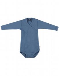 Omlottbody i ribbstickad ull för baby duvblå