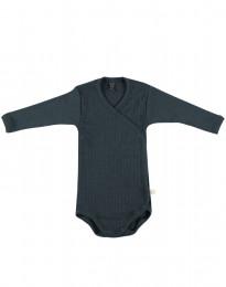 Omlottbody i ribbstickad ull för baby mörk petrolblå