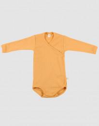 Omlottbody i ribbstickad ull för baby gul