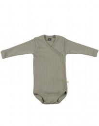 Omlottbody i ribbstickad ull för baby olivgrön