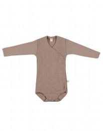 Omlottbody i ribbstickad ull för baby gammalrosa