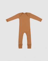 Sparkdräkt i merinoull för baby i ribb karamell