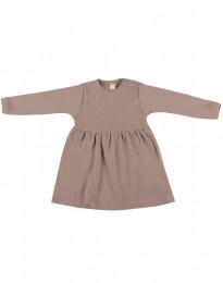 Ribbstickad klänning i ull för baby i gammalrosa