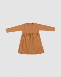 Ribbstickad klänning i ull för baby karamell