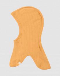 Balaclava i ribbstickad merinoull för barn gul