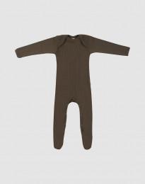 Sparkdräkt m. fötter för baby i merinoull mörk choklad