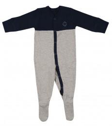 Sparkdräkt m fötter för baby i ekologisk bomull navy/grårandig
