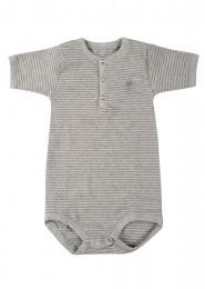 Kortärmad babybody i ekologisk bomull grårandig