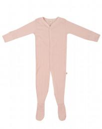 Sparkdräkt med fötter för baby i ekologisk bomull rosa
