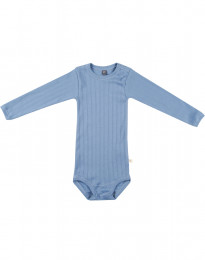Långärmad babybody i ekologisk bomull blå
