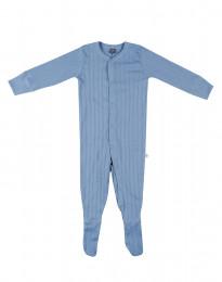 Sparkdräkt med fötter för baby i ekologisk bomull blå