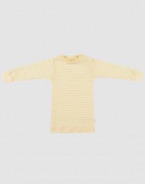 Långärmad tröja för baby i ekologisk ull-siden ljusgul/natur
