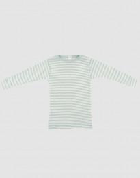 Långärmad tröja för baby i ekologisk ull-siden pastellgrön/natur
