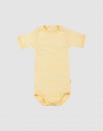 Kortärmad body för baby i ekologisk ull-siden ljusgul/natur