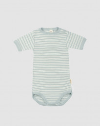 Babybody med kort ärm i ekologisk ull-siden pastellgrön/natur