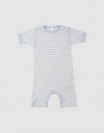 Sommardräkt för baby i ekologisk ull-siden blå/natur