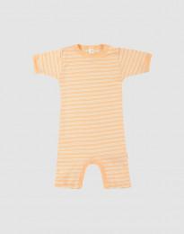 Sommardräkt för baby i ekologisk ull-siden aprikos/natur