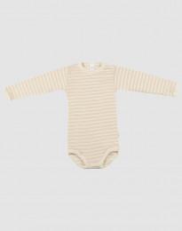 Babybody med lång ärm i ekologisk ull-siden beige/natur