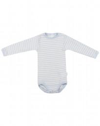 Babybody med lång ärm i ekologisk ull-siden blå/natur