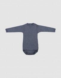 Babybody med lång ärm i ekologisk ull-siden blåmelerat