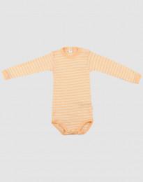 Babybody med lång ärm i ekologisk ull-siden aprikos/natur