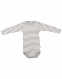 Babybody med lång ärm i ekologisk ull-siden grå/natur