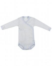 Omlottbody för baby i ekologisk ull-siden blå/natur