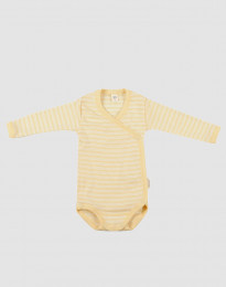 Omlottbody för baby i ekologisk ull-siden ljusgul/natur