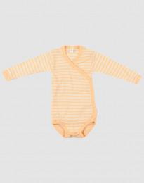 Omlottbody för baby i ekologisk ull-siden aprikos/natur