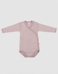 Omlottbody för baby i ekologisk ull-siden pastellrosa/natur