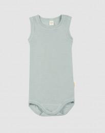 Ärmlös babybody i ekologisk ull-siden pastellgrön