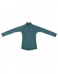 Barntröja med blixtlås - exklusiv merinoull blågrön
