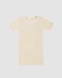 T-shirt för barn i ekologisk ull-siden beige/natur