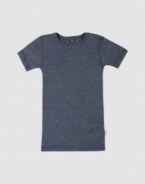 Barn-t-shirt av ull-siden blåmelerat