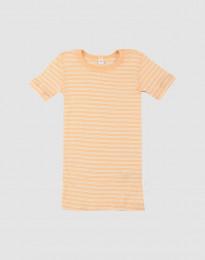 T-shirt för barn i ekologisk ull-siden aprikos/natur