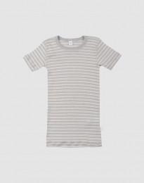 T-shirt för barn i ekologisk ull-siden grå/natur