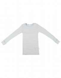 Långärmad tröja för barn i ekologisk ull-siden blå/natur