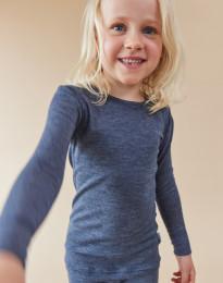 Långärmad tröja för barn i ekologisk ull-siden blåmelerad